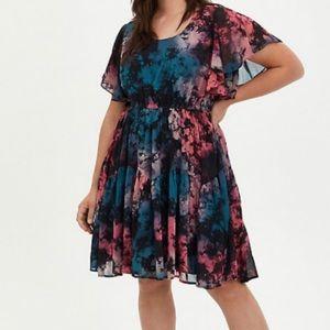 🆕Chiffon Tie Dye Ruffle Sleeve Skater Dress 3X 22